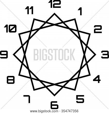 Clock Dial Black Big Numbers Diamond Fframe Hourly Black On Transparent Background