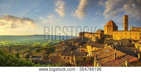 Tuscany, Volterra Town Skyline, Church And Panoramic View At Sunset. Italy, Europe