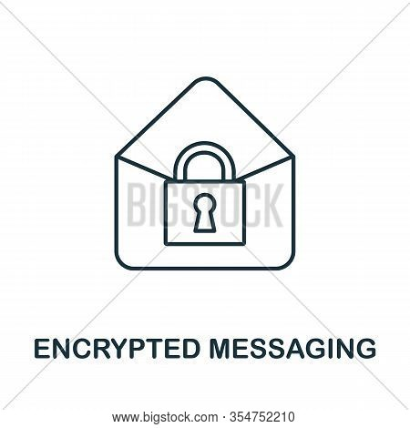 Encrypted Messaging Icon From Cyber Security Collection. Simple Line Encrypted Messaging Icon For Te