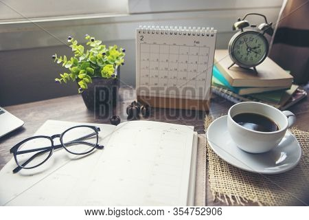 Appointment Calendar Concept.desktop Calender 2020,diary Cup Of Coffee Place On Office Desk.notebook