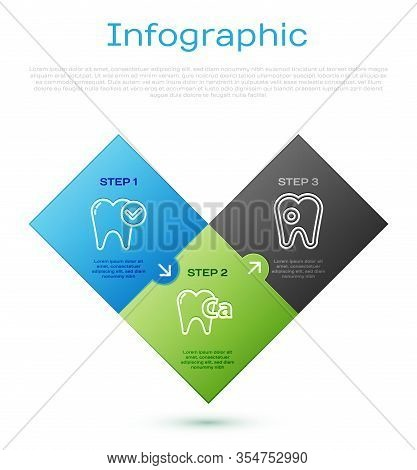 Set Line Tooth Whitening Concept, Tooth With Caries And Calcium For Tooth. Business Infographic Temp