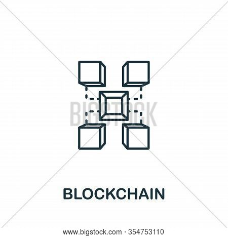 Blockchain Icon From Industry 4.0 Collection. Simple Line Element Blockchain Symbol For Templates, W