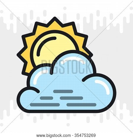 Partly Cloudy Or Partially Cloudy Icon For Weather Forecast Application Or Widget. Sun Behind The Cl
