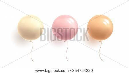 Set Of Glossy Pastel Colour Gentle Girlish Balloons In Round Shape, 3d Sphere, Isolated Vector Illus