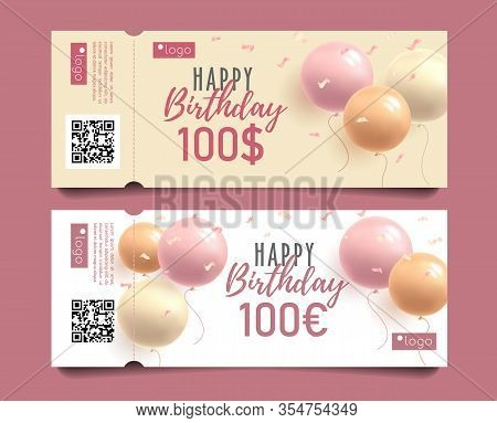Happy Birthday Greeting Cards Set With 3d Round Balloons And Monetary Award, Girlish Pink Style Cele