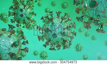 Abstract Virus Background. Pathogen Affecting The Respiratory Tract. Covid-19 Infection. Concept Of