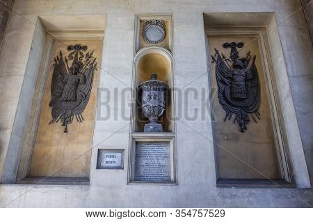 Palermo, Italy - May 8, 2019: Close Up On A Details Of Historical Gateway Called Porta Nuova - New G