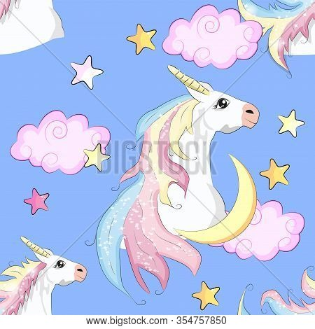 Seamless Unicorn Pattern. Magic Background With Cute Unicorns, Clouds And Stars.