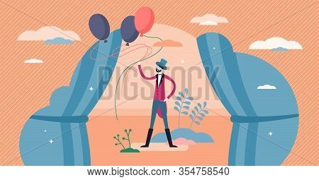 Entertainer Concept, Flat Tiny Person Vector Illustration. Show Performance On The Stage. Party Even