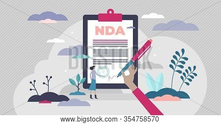 Nda Non-disclosure Document Concept, Flat Tiny Person Vector Illustration. Signing Business Confiden