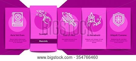 Wizard Magic Onboarding Mobile App Page Screen Vector. Wizard Wand And Hat, Sphere And Knife, Book A