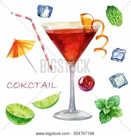 Watercolor Illustration. The Image Of A Glass With A Cocktail Is Cosmopolitan. Mint Leaves, Ice Cube