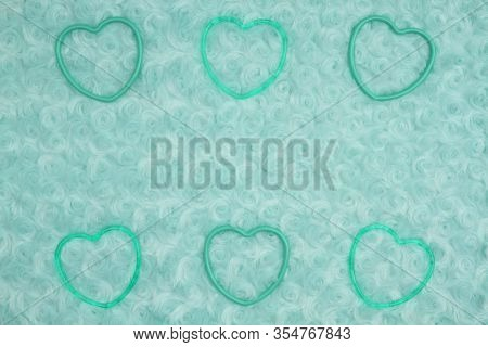 Teal Frame Hearts Pale Teal Rose Plush Fabric Background With Muted Mix Of Shades To Provide Copy-sp