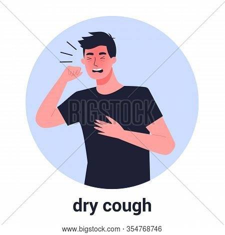 Sick Man Having Dry Cough. Male Person With Asthma, Allergy