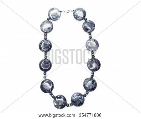 Jewelry Fashion Beads Necklace With Natural Stones Crystals Labradorite Isolated