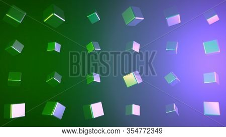 Rotating Cubes That Reflect Light On Colorful Background. Animation. Multicolored Smooth Cubes With