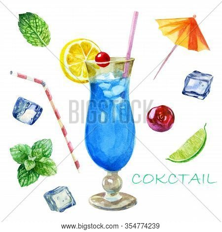 Watercolor Illustration. Image Of A Glass With A Blue Lagoon Cocktail. Mint Leaves, Ice Cubes For Co