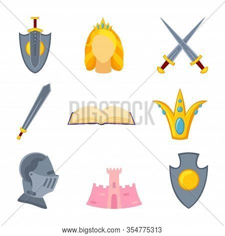 9 Cartoon Colorful Fairytale Elements. Medieval Festival Props. Fairy Tale Theme Vector Illustration