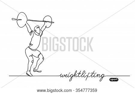 Weightlifting Competition. Vector Minimalistic Banner. Weightlifting Sport Event. One Continuous Lin