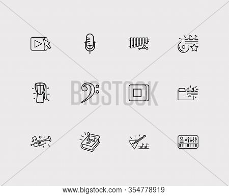 Musical Icons Set. Synthesizer And Musical Icons With Balalaika, Xylophone And Djembe. Set Of Tradit