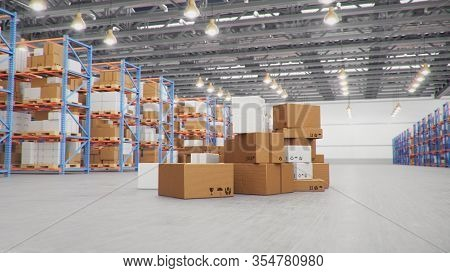 3d Illustration Packages Delivery, Parcels Transportation System Concept, Heap Of Cardboard Boxes In