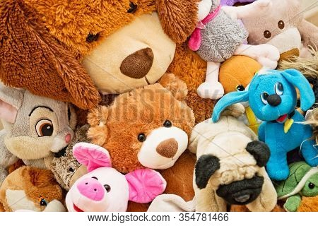 Many Soft Plush Fluffy Toys Sits In The Children's Room