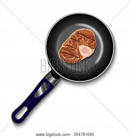 Pan With Raw Meat Top View Homemade Meat Food For Lunch Or Dinner. Tasty Delicious Beef Slice. Cooki