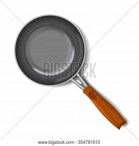 Empty Frying Pan, Top View Isolated On White Background With Wooden Handle. Realistic Steel Pan. Vec