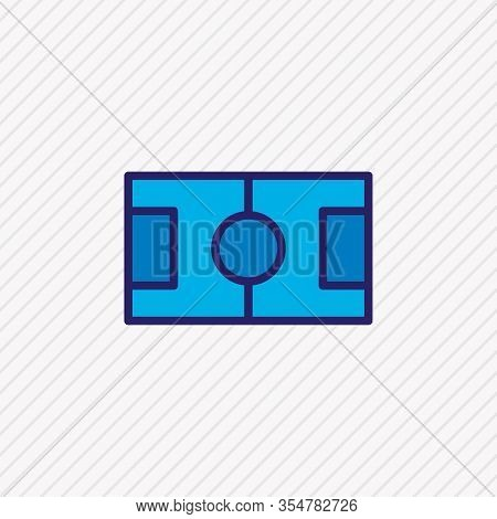 Vector Illustration Of Football Field Icon Colored Line. Beautiful Sport Element Also Can Be Used As
