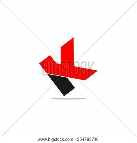 Letter Yk Abstract Simple Geometric Shadow Symbol Logo Vector