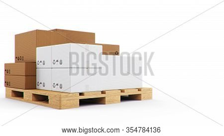 3d Illustration Cardboard Boxes On Wooden Pallets Isolated On A White Background. Cardboard Boxes Fo