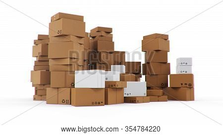 Pile, Heap Of Cardboard Boxes Isolated On A White Background. Cardboard Boxes For The Delivery Of Go