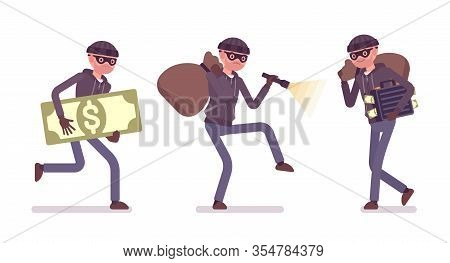Thief, A Masked Man Stealing Money. Burglar Committing Robbery, Outlaw Fraud Operating Lawless Finan