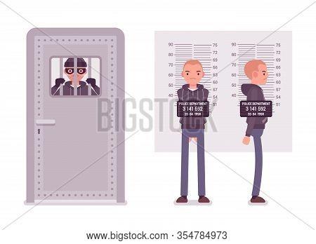 Jailed Thief And A Criminal Mugshot. Imprisoned Masked Bandit, Arrested Suspect Man Photo, Measureme