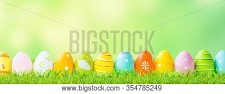 Easter Concept. Green Grass, Easter Eggs And Web Banner Background On A Sunny Day.