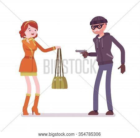Purse Snatcher, Thief Grabbing A Girl, Threatening With A Gun. Masked Criminal, Bandit Pulling A Wea
