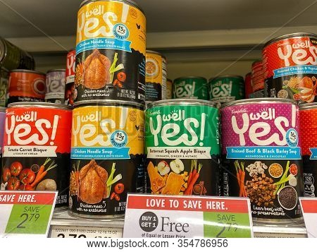 Orlando,fl/usa-3/7/20: The Campbells Yes Soup Aisle Of A Publix Grocery Store Waiting For Customers