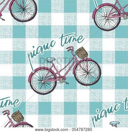 Vintage Bike With Handwritten Slogan Picnic, Blue Gingham Background Seamless Pattern, Editable Vect