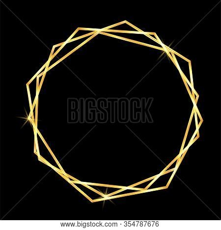 Gold Geometric Frame In Abstract Style On Black Background. Decorative Vector Template. Modern Geome