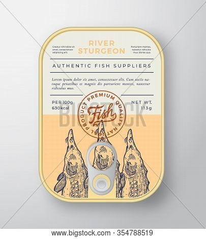 Canned River Fish Abstract Vector Aluminium Container Packaging Design Or Label. Modern Typography B