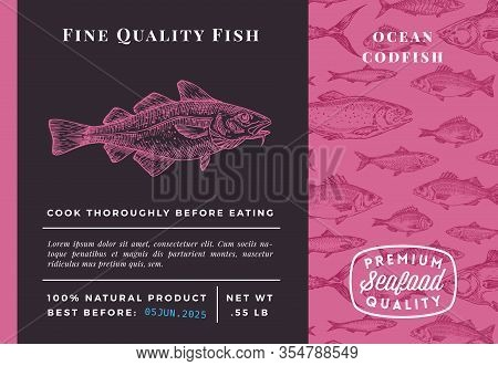 Premium Quality Codfish Abstract Vector Crab Packaging Design Or Label. Modern Typography And Hand D