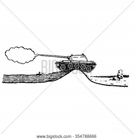 Black Hand-drawn Vector Illustration Of A Panzer Shoots With Smoke Isolated On A White Background