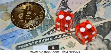 E-business Concept Gambing - Bitcoin And Dollars .