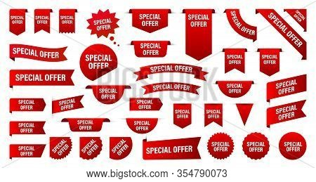 Sale And New Label Collection Set. Sale Tags 30, 50, 70. Discount Red Ribbons, Banners And Icons. Sp