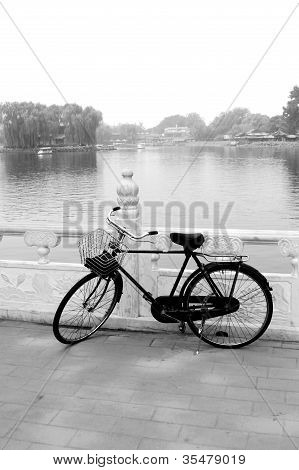 Old Beijing Style bicycle on the shore of houhai lake