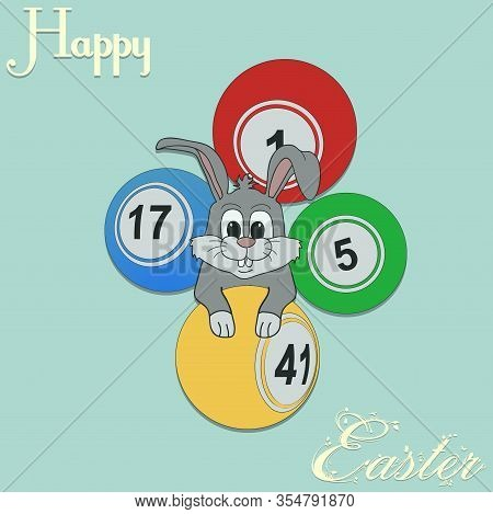 Hand Drawn Easter Bunny With Bingo Lottery Balls Over Turquoise Background And Happy Easter Decorati