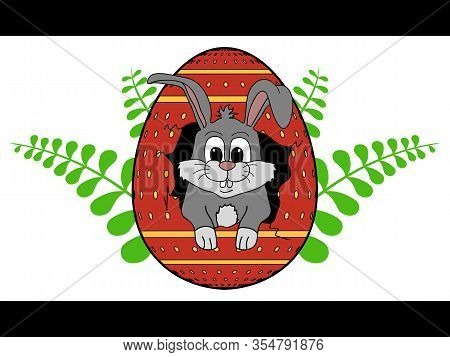 Hand Drawn Easter Bunny Coming Out From Cracked Decorated Easter Egg Over Green Branches With Leafs