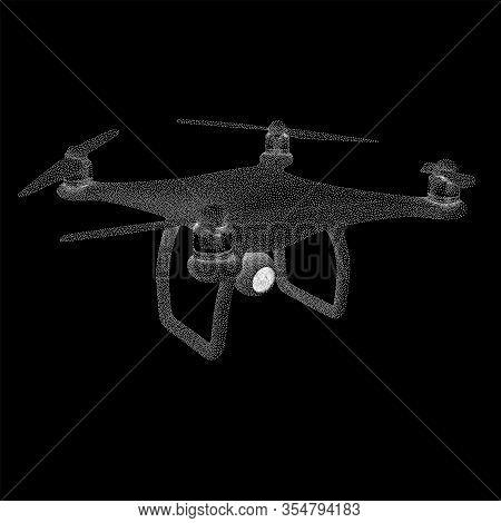 Remote Control Air Drone. Dron Flying. Dotwork Halftone Style Monochrome Gradient Vector Illustratio