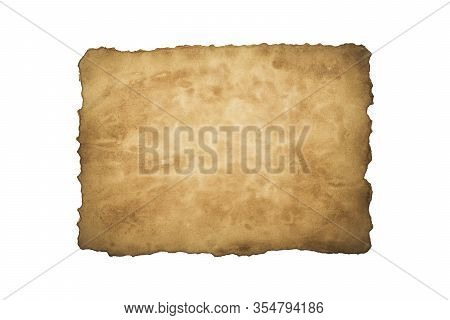 Old Crushed Vintage Retro Paper Sheet   Isolated On White Background. Old Photo Texture With Stains