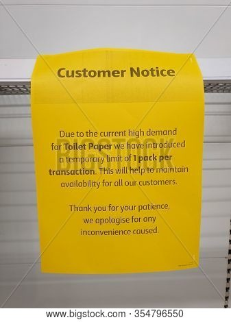 Gold Coast, Australia - March 9, 2020: Coronavirus Fears Has Led To Shoppers Panic Buying And Stockp